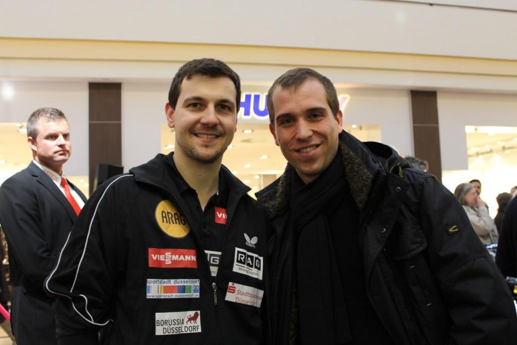 Dennis Thering mit Tischtennis Europameister Timo Boll